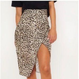 brown leopard wrap pencil skirt